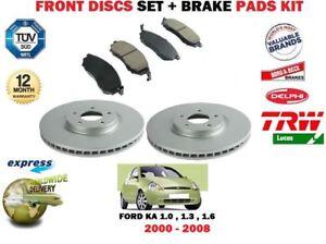 Per-FORD-KA-1-0-1-3-1-6-2000-2008-Dischi-Freno-Anteriore-Ventilati-Set-Pastiglie-Kit