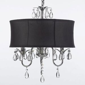 Image Is Loading Modern Contemporary Black Drum Shade Amp Crystal Chandelier