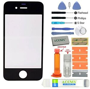 ACENIX-Apple-iPhone-4-4s-Black-Outer-Front-Glass-Screen-Replacement-Repair-Kit