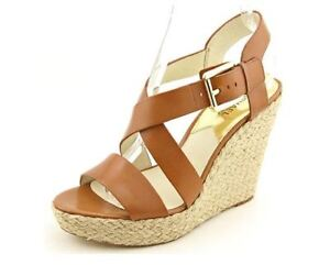 0dfe252c48b5 Michael Michael Kors Women s Tan Giovanna Wedge Open Toe Shoes 1640 ...
