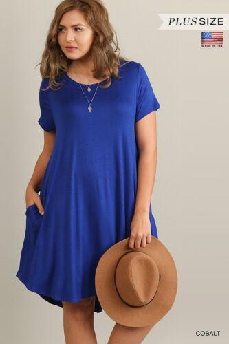 Umgee Women Scoop Neck T-Shirt A line swing casual Dress PLUS S M L