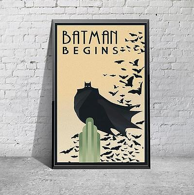 Batman Begins Retro Art Deco Movie Film Poster Print Picture A3 A4