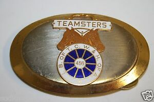 Vintage-Local-TEAMSTERS-IB-of-TCW-amp-H-of-A-456-Belt-Buckle-RARE