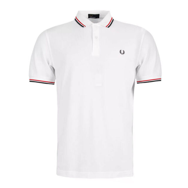 M3600 NAVY//WHITE 238 FRED PERRY TWIN TIPPED LOGO BRANDED POLO