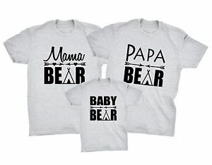 7ee9d177 3 PACK PAPA MAMA & BABY BEAR T-SHIRTS Christmas Fathers Mothers Day ...