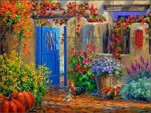 Ceramic-Tile-Mural-Backsplash-Senkarik-Floral-Courtyard-Rooster-Art-MSA171