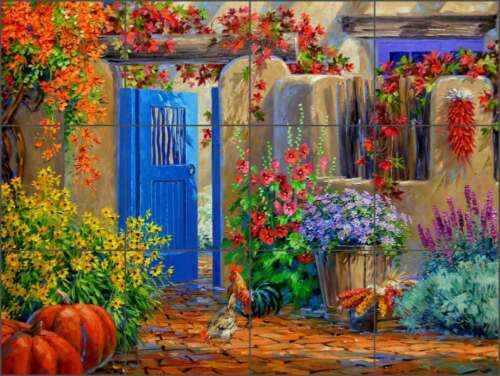 Ceramic Tile Mural Backsplash Senkarik Floral Courtyard Rooster Art MSA171