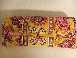 Vera Bradley Bali Wallet Clutch Yellow Pink W/ Adjustable Strap