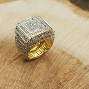 14k Gold Lab Diamond Iced Out Bling Ring 21mm Hiphop Jewelry Fashion