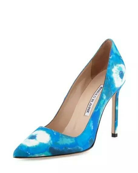 New 7   37 Manolo Blahnik BB Satin bluee Tie dye Pointed Pump Classic Pump shoes
