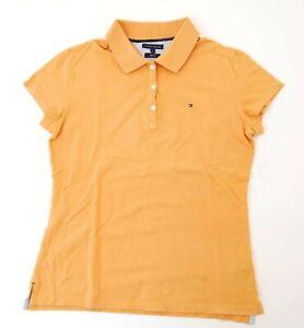 Tommy-Hilfiger-Poloshirt-Polohemd-Damen-Gr-L-orange-uni-Pique-S1086