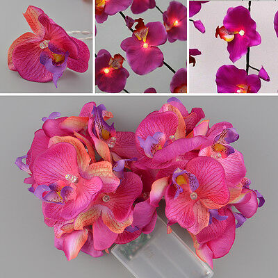 Beautiful 20LED Orchid Flower Romantic Purple Fairy Wedding Party String Light