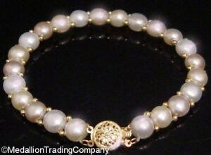 14k-Gold-Champagne-Cream-Button-Pearl-7mm-Bead-Strand-Bracelet-Filigree-Clasp