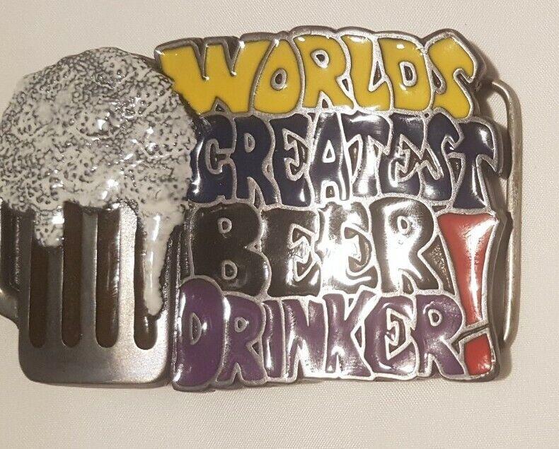 Vintage Buckle Gürtelschliesse/ Worlds Greatest Beer Drinker / C+J Inc. USA 1996
