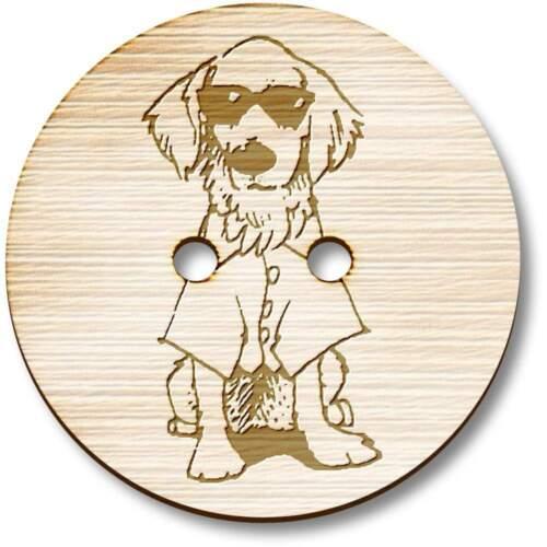 "BT021213 /""Perro usando camisa /'Botones Madera"