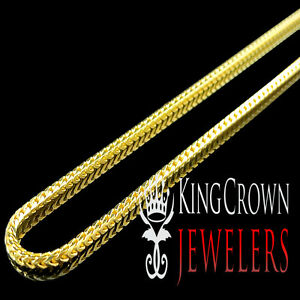 14K-YELLOW-GOLD-OVER-REAL-SILVER-ITALY-MADE-1-5-MM-SOLID-FRANCO-CHAIN-NECKLACE