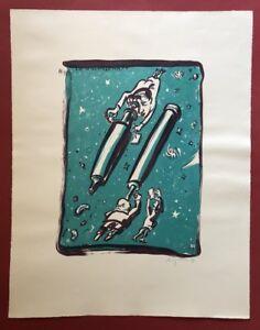 Peter Anger uomo, la scienza, litografia, 1990, firmato a mano