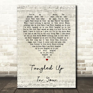 Tangled Up In You Script Heart Song Lyric Quote Print Ebay