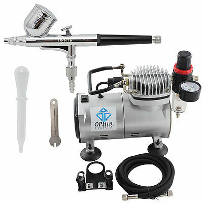 220V OPHIR Air Tank Compressor 2x 0.3mm 0.35mm Dual-Action Airbrush for Clothes