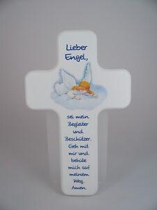 Details Zu Kinder Holz Kreuz Engel Mit Schutzengel Gebet H 18 Cm Neu Kreuze Taufe Geburt