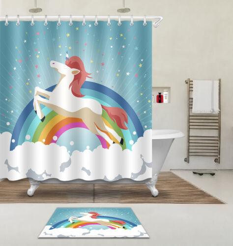 "60//72//79/"" Waterproof Fabric Polyester Shower Curtain /&Mat/&Hook-Unicorn Rainbow"