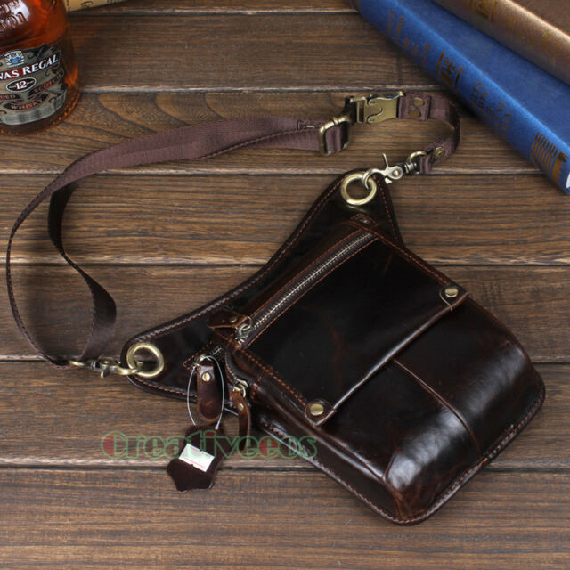 Men's Genuine Leather Cross Body Messenger Shoulder Hip Bum Waist Drop Leg Bag