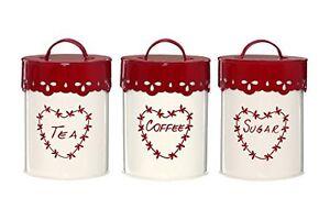 Premier-Housewares-ingles-Te-Cafe-y-Azucar-Oslo-Conjunto-de-3-Crema-Rojo