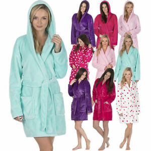 Ladies Dressing Gown Fleece Soft Bath Robe Hooded   Shawl Collar ... d5eb708a8
