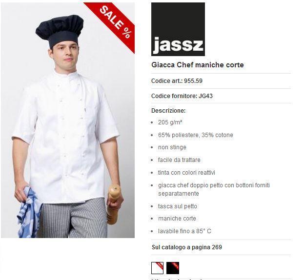 Chaqueta Cocinero Jassz Nueva Manga Corta Negra Talla 42 De Chef Súper Oferta