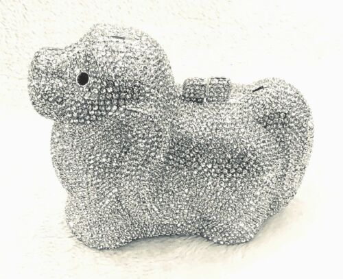 Silver DOG Black Nose Doggy Doggie  Handmade Austrian CRYSTAL Evening Clutch Bag