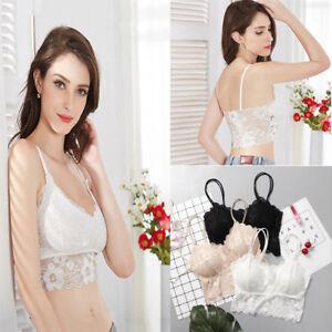 a937b4ec97 Women Crop Top Bra Floral Vest Bralet Lace Camisole Tops Tank ...