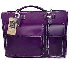 Made in Italy bag handbag man briefcase genuine leather workbag purple 7005 US
