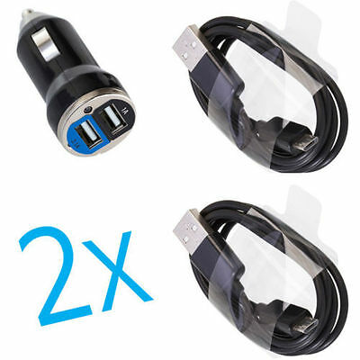 2A Dual Car Charger+2 Micro USB Cable for Samsung Galaxy Core Prime Prevail LTE