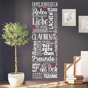 wandtattoo familienregeln familie zuhause liebe wohnzimmer deko spr che ws17 ebay. Black Bedroom Furniture Sets. Home Design Ideas