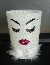 White glitter makeup holder. Brushes. Lipstick. Lashes &lips. Pink. Vanity decor
