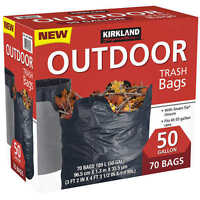 Kirkland 50 Gallon Smart Tie Closure Black Outdoor Trash Waste Bags 70 Ct