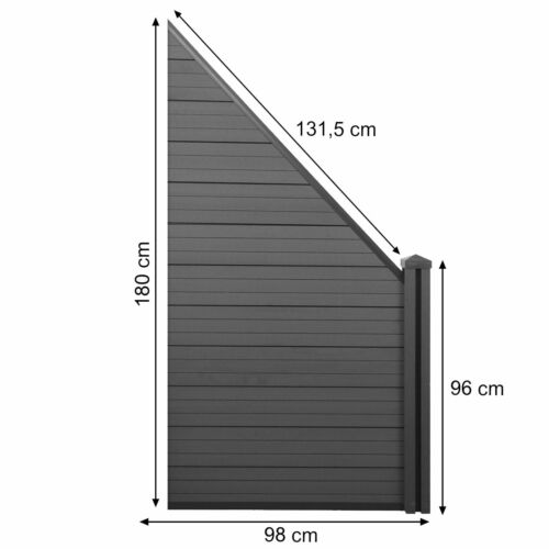 WPC-Sichtschutz Sarthe 0,98m anthrazit WPC-Pfosten Erweiterung schräg rechts