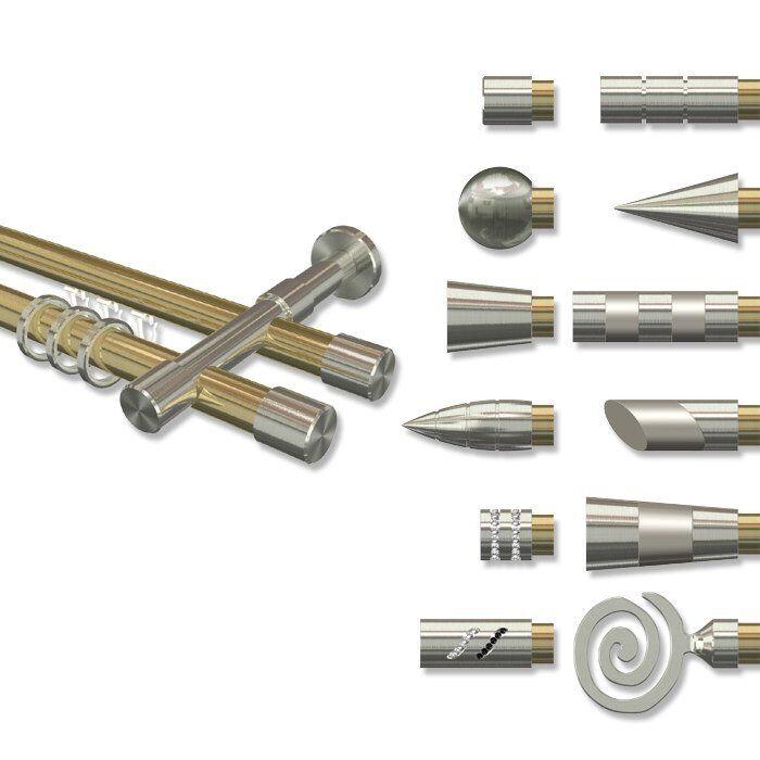 Rohr-Innenlauf Gardinenstangen Messing Optik   Edelstahl Optik 2-läufig 20 mm Ø    Mittel Preis