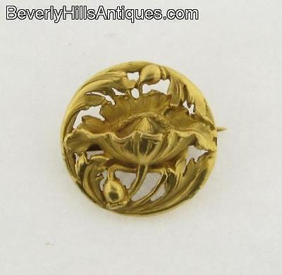 Beautiful Antique Art Nouveau 14k Gold Brooch