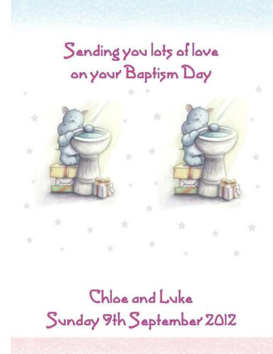 Twin Boys Girls Girl and Boy Christening Baptism Personalised A5 Card Twins NEW