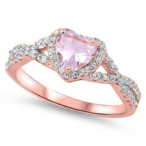 Sterling-Silver-925-HEART-LOVE-KNOT-PINK-MORGANITE-CZ-PROMISE-RING-8MM-SIZE-4-11