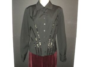 Cache-Shirt-Size-8-Small-Top-Black-Long-Sleeves-Lace-Back-amp-Lace-Accents-Blouse