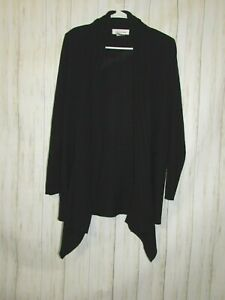 Exclusively-Misook-Black-Ribbed-Open-Front-Cardigan-Size-Large