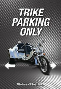 Trike Parking Only Tin Sign Shield Arched Metal 20 X 30 CM SM0218
