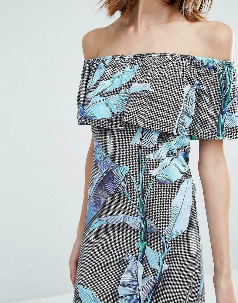 Fiable Warehouse Bardot Off Les épaules Palm Print Dress Uk 10 Ln098 Bb 10 ModèLes à La Mode