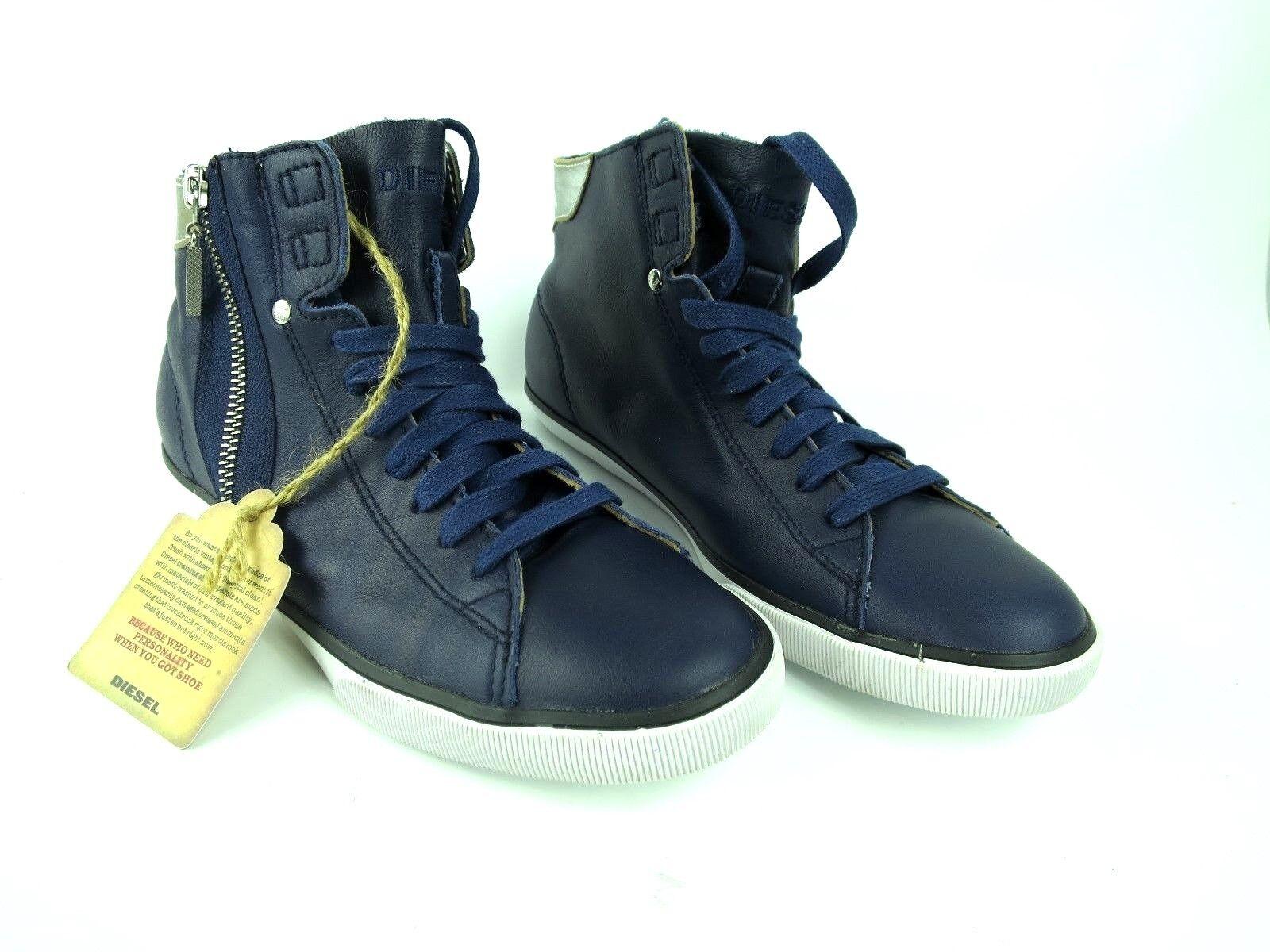 Zapatos promocionales para hombres y mujeres DIESEL Sneaker BEACH PITDamen Sneakers Women Shoes Blau Leder Y01011 NEU A8