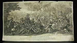 Grabado Siglo Xvii Alexander El Grande Contra Darius Batalla Charles Marrón /