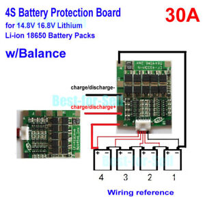 Details about 4S 30A BMS PCB Protection Board For 18650 Li-ion Lithium  Battery w/Balance 14 8V