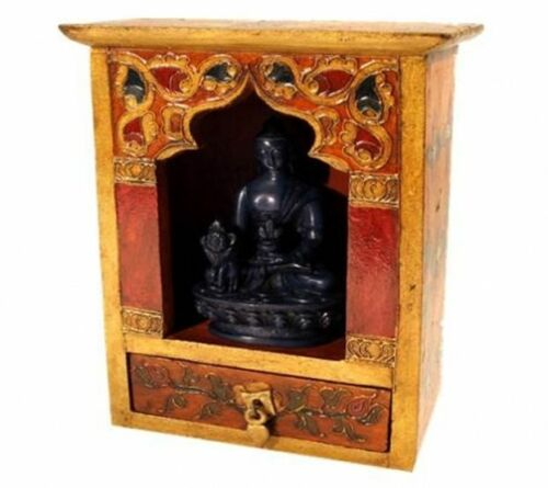 Holz handbemalt 22 cm Schrein Altar Tischaltar mit Schublade