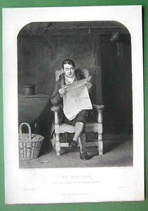 MAN-Reading-Newspaper-1852-Steel-Engraving-Antique-Print
